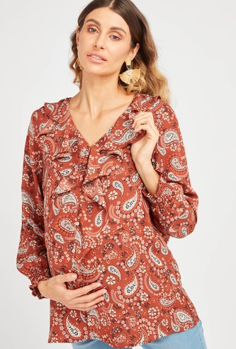 Printed Maternity Top with Long Sleeves and Ruffle Detail