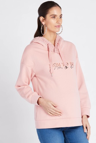 Slogan Print Maternity Hoodie with Long Sleeves