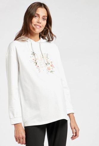 Graphic Print Maternity Sweatshirt with Hood and Long Sleeves