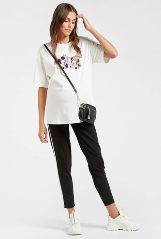 Striped Mid-Rise Maternity Cropped Jeggings with Elasticated Waist