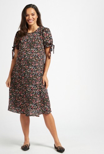 All-Over Floral Print Knee Length Maternity Dress with Tie-Up Sleeves