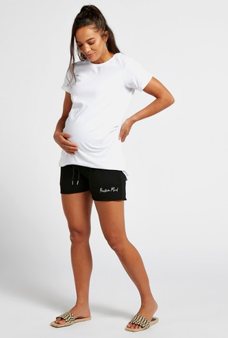 Textured Maternity Shorts with Drawstring Closure