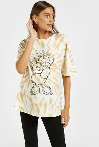 Daisy Duck Graphic Print Tie-Dyed Maternity T-shirt with Short Sleeves