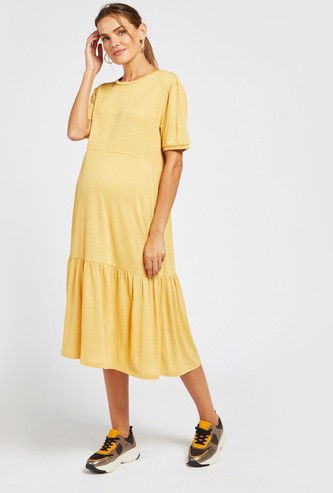 Maternity Tiered Midi Dress with Smocking Detail