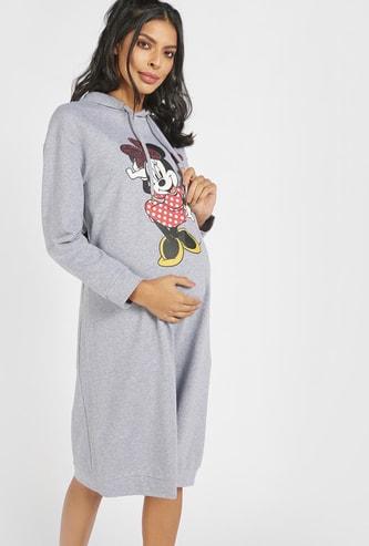 Minnie Mouse Print Maternity Sweat Dress with Hood