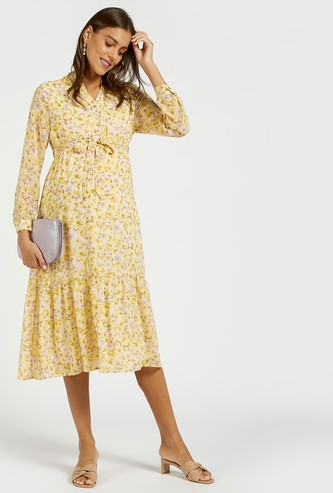 All-Over Floral Print Midi Tiered Maternity Dress with Long Sleeves
