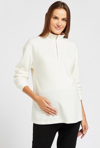 Solid Maternity Sweatshirt with High Neck and Long Sleeves