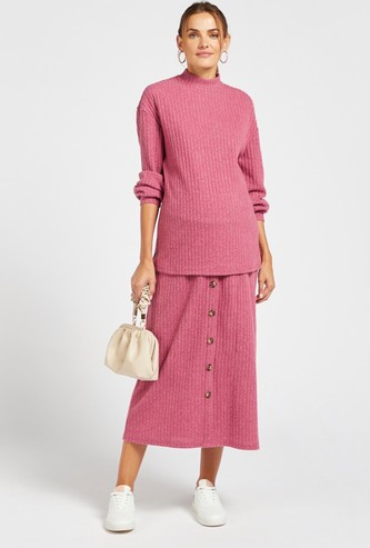 Maternity Textured A-line Midi Skirt with Button Detail