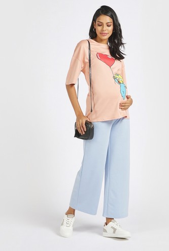 Solid Mid-Rise Maternity Pants with Belly Support
