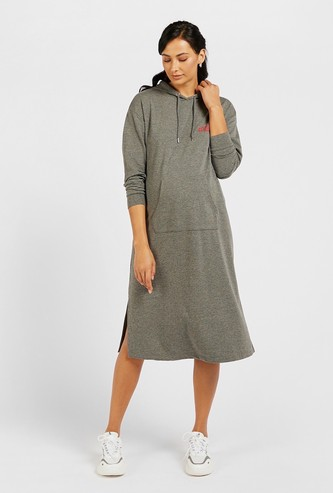 Solid Maternity Sweatshirt Dress with Hood