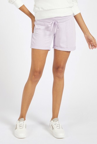 Solid Mid-Rise Maternity Shorts with Drawstring Closure