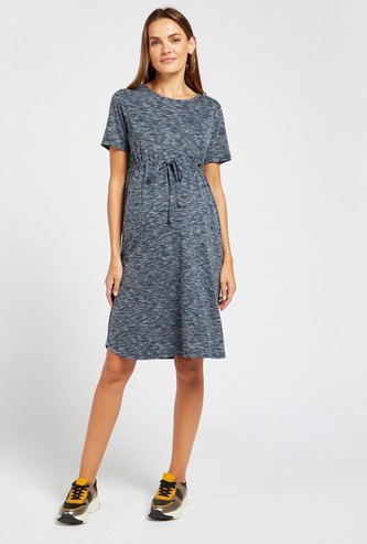 Injected Print A-line Maternity Dress with Short Sleeves and Tie-Ups