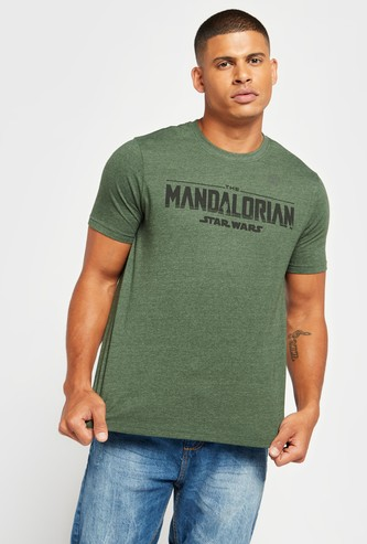 The Mandalorian Star Wars Graphic Print T-shirt with Crew Neck