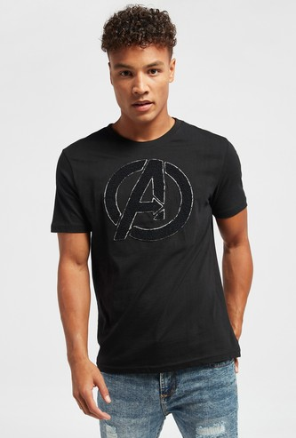 Avengers Embossed Detail T-shirt with Round Neck and Short Sleeves