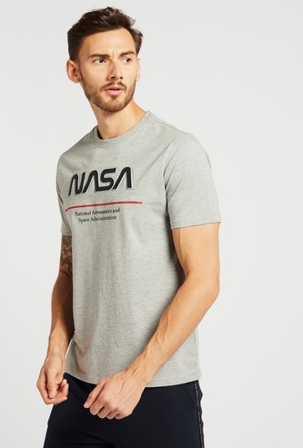 NASA Embossed Print T-shirt with Crew Neck and Short Sleeves