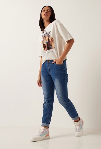 Full Length Skinny Mid-Rise Jeans with Zip Closure
