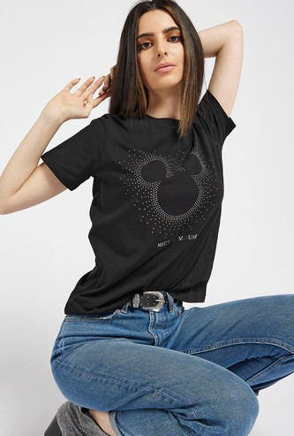 Mickey Mouse Embellished Round Neck T-shirt with Short Sleeves