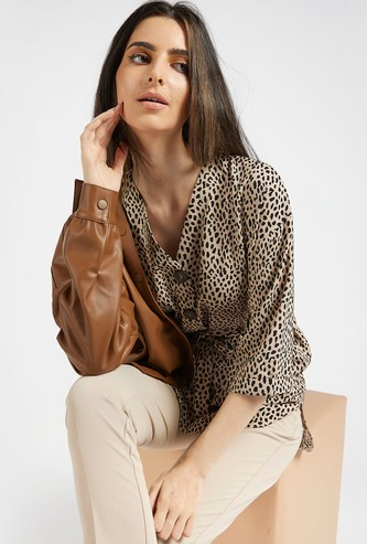 Animal Print Longline Top with Tie-Ups and 3/4 Sleeves