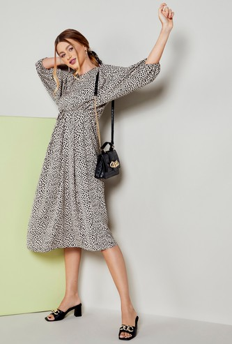 Animal Print A-line Midi Dress with Long Batwing Sleeves