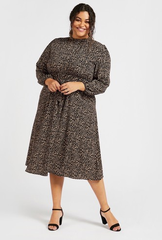 All-Over Print Midi A-Line Dress with Long Sleeves and Tie-Up