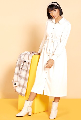 Textured Midi Shirt Dress with Tie-Up Belt and Long Sleeves