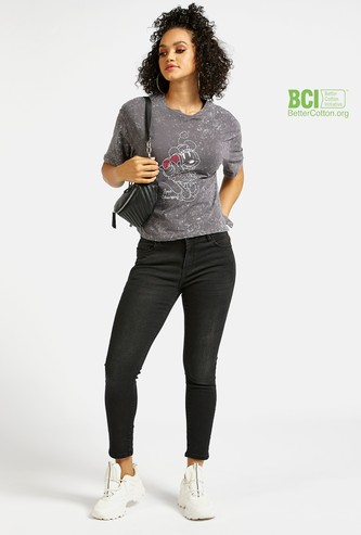 Skinny Fit Solid Cropped Jeans with Pockets