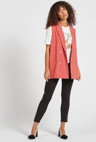 Sleeveless Double Breast Collared Jacket