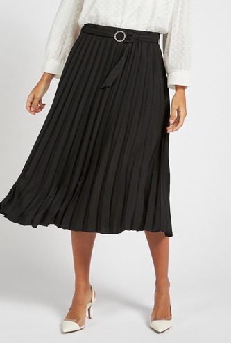Solid Pleated Midi Skirt with Studded Buckle