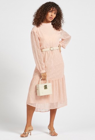 Textured Midi Tiered Dress with High Low Hem and Volume Long Sleeves