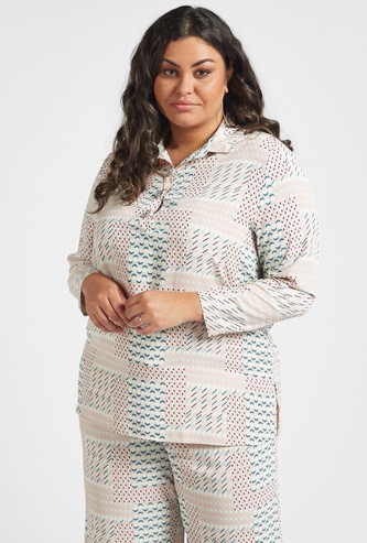 All-Over Print Oversized Shirt with Spread Collar and Long Sleeves