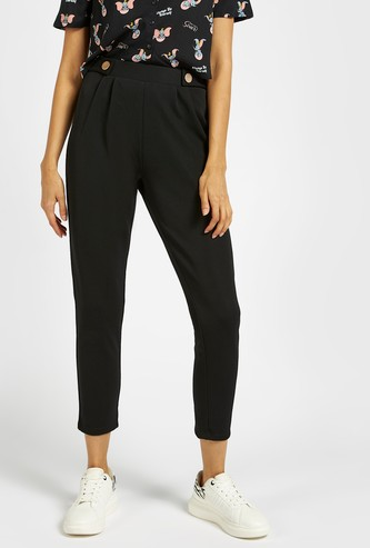 Solid 3/4 Pants with Button Detail and Elasticised Waistband