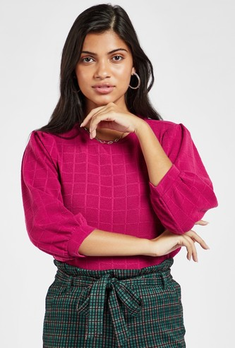 Checked Round Neck Top with 3/4 Sleeves