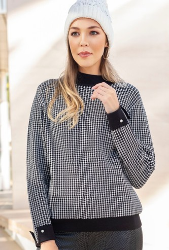 Houndstooth Print High Neck Sweater with Long Sleeves