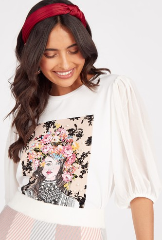 Printed Round Neck Top with Puff Sleeves