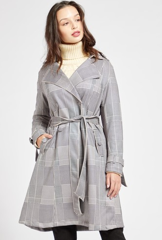 Checked Trench Coat with Belted Waist and Pockets