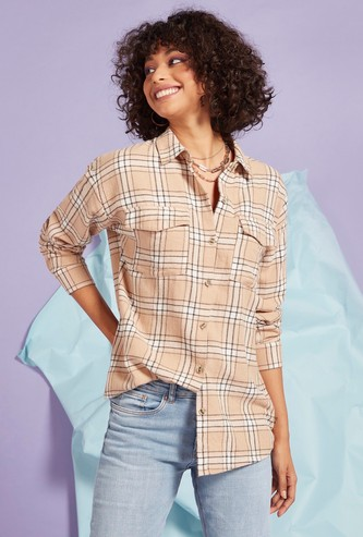 Checked Shirt with Long Sleeves and Pockets