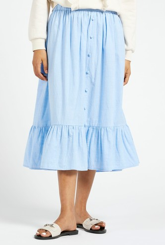 Solid Tiered Midi Skirt with Button Detail and Elasticised Waistband