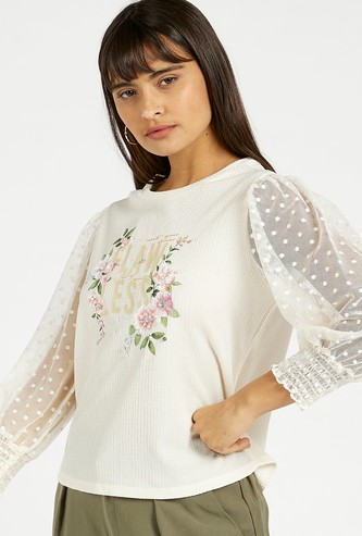 Slogan Print Top with Puff 3/4 Sleeves and Round Neck