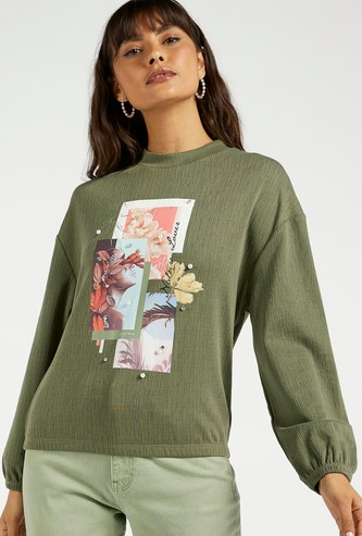 Pearl Detail Graphic Print Sweat Top with Round Neck and Long Sleeves