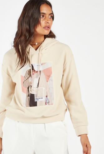 Graphic Print Sweat Top with Hood and Long Sleeves