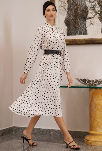 Polka Dot Midi A-line Dress with Tie-Neck and Long Sleeves