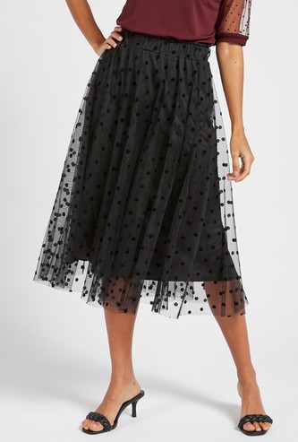 Polka Dots Print A-line Mesh Skirt with Elasticised Waistband