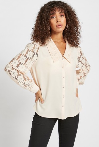 Lace Detail Shirt with Spread Collar and Bishop Sleeves