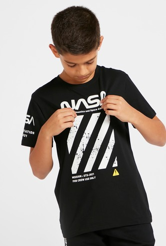NASA Graphic Print T-shirt with Crew Neck and Short Sleeves