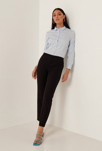 Ankle Length Pants with Pocket Detail and Elasticised Waistband