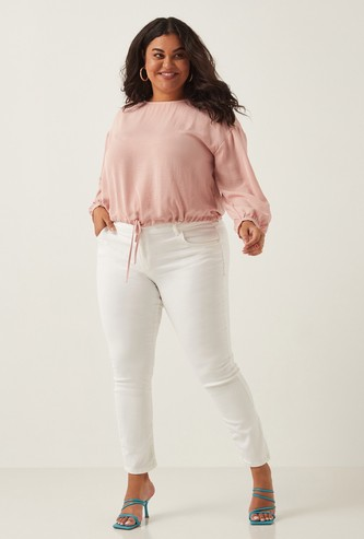 Full Length Plain Jeans with Button Closure and Pocket Detail