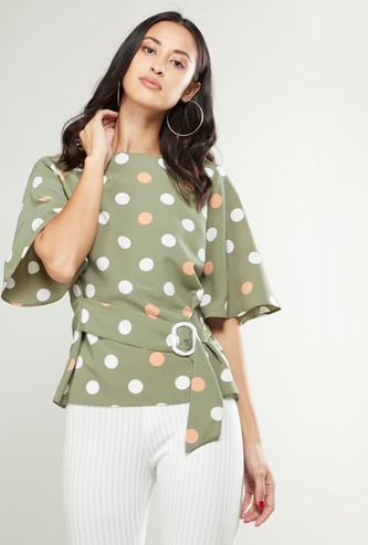 Polka Dot Round Neck Top with Flutter Sleeves and Belt
