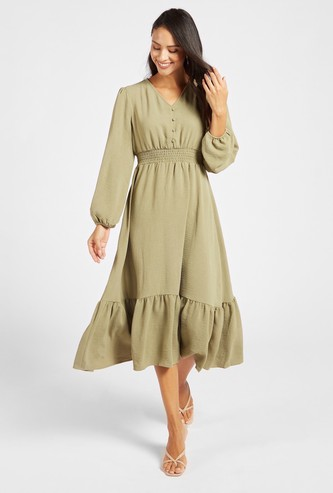 Smocked Midi Tiered Dress with Long Sleeves