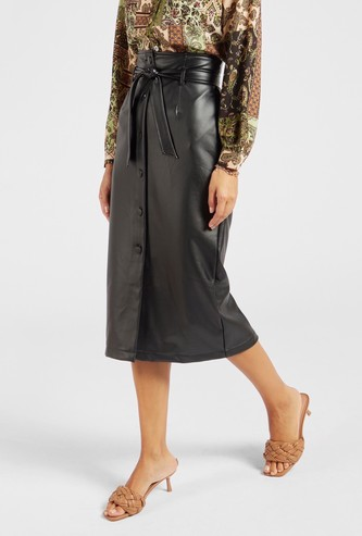 Solid A-line Midi Skirt with Buttons and Tie-Ups