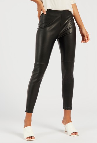 Solid Ankle Length Leggings with Zip Closure